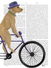 Yellow Labrador on Bicycle by Fab Funky art print