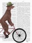 Poodle on Bicycle, Brown by Fab Funky art print