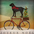 Black Lab on Bike Christmas by Ryan Fowler art print