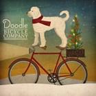 White Doodle on Bike Christmas by Ryan Fowler art print
