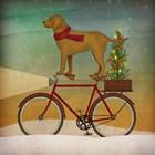 Yellow Lab on Bike Christmas by Ryan Fowler art print