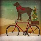 Brown Lab on Bike Christmas by Ryan Fowler art print
