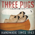 Three Pugs in a Canoe by Ryan Fowler art print