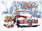 Red Truck Christmas by Old Red Truck art print
